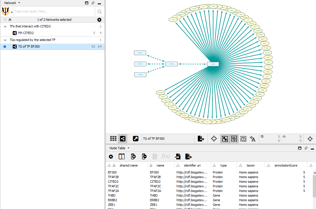 The interactions from the Second query are selected, imported into the network form the First search (dbTFs), and the layout of the network is changed for better visualization.